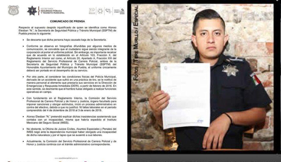 Policía Alonso Elesban fue despedido por no justificar 16 faltas laborales: Lourdes
