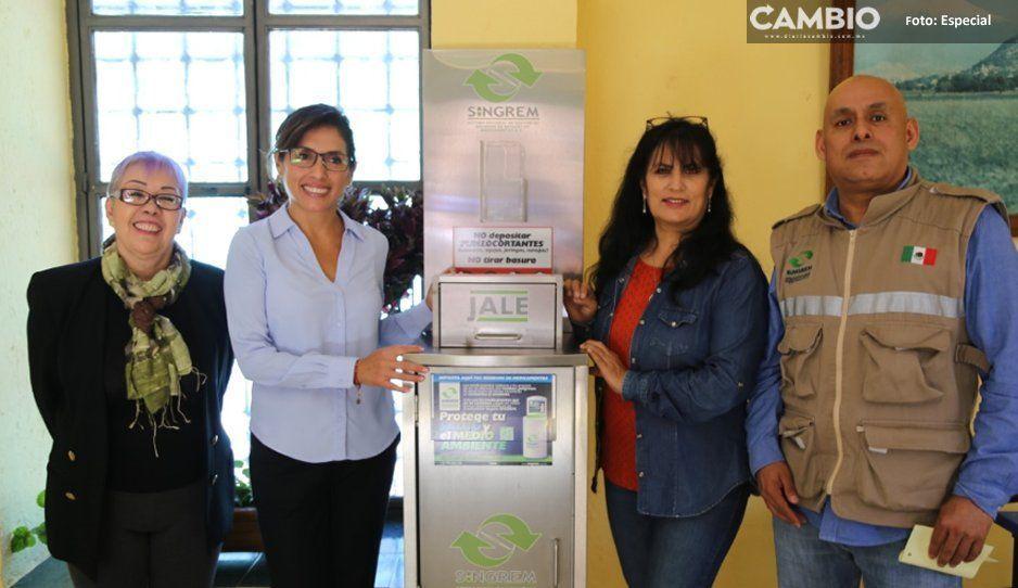 DIF municipal instala primer contenedor  para medicamentos caducos en Atlixco