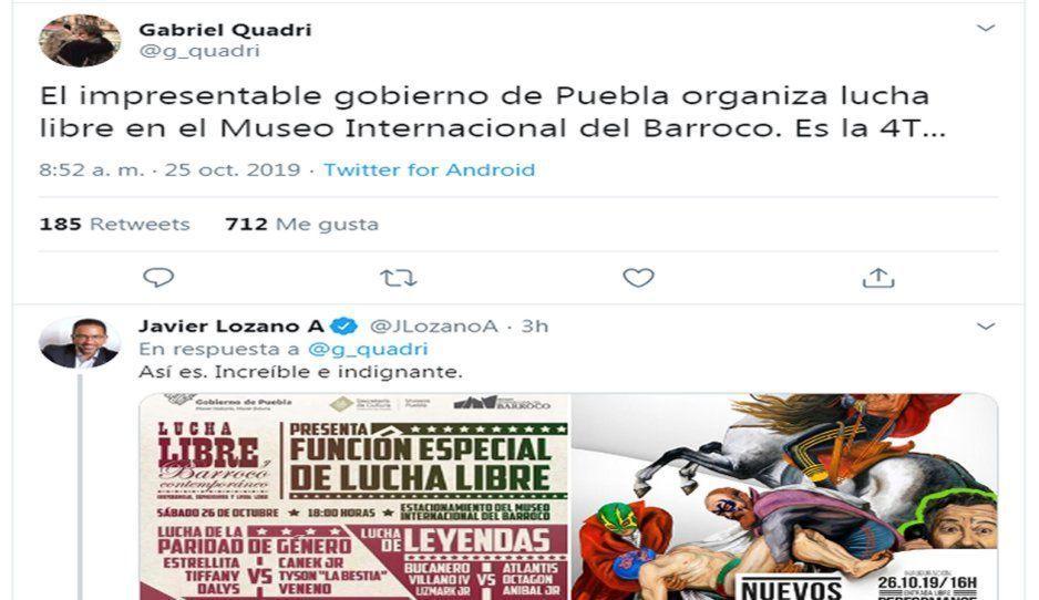 Lozano y Quadri indignados por la función de  lucha libre en el Museo del Barroco