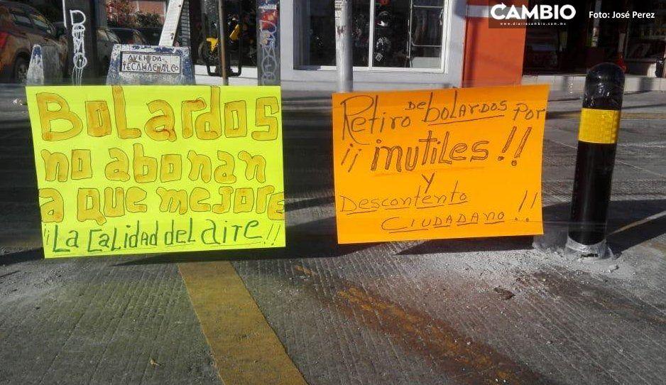 Amaluqueños protestan contra  Claudia y exigen retiro de bolardos