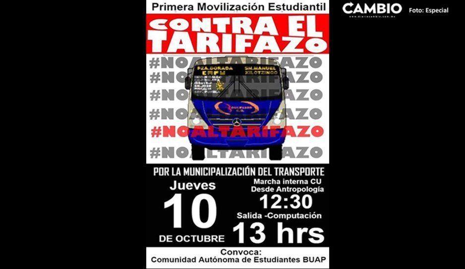 Alumnos BUAP convocan a marcha en CU contra el trarifazo de 2.50 al pasaje
