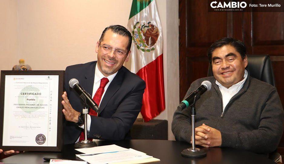 Puebla, primer estado en recibir certificación por disminuir tiempos en resolución de juicios