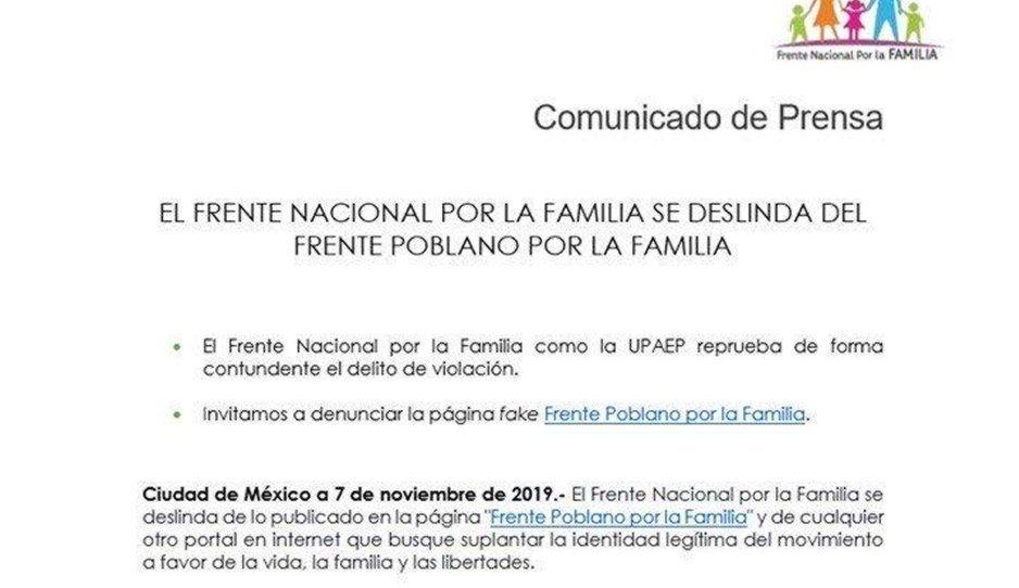 Frente nacional por la familia se deslinda de publicaciones a favor de la violación en página fake