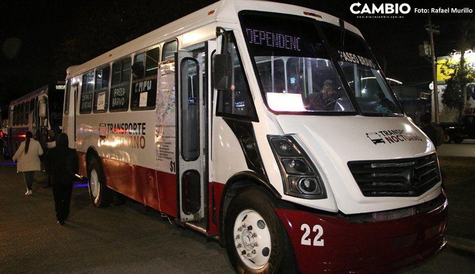 Transporte Nocturno sólo recibe 300  pasajeros diarios de su meta de mil 500