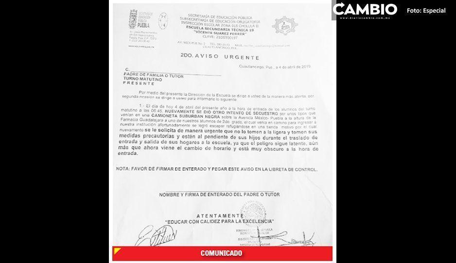 Director de secundaria en Cuautlancingo denuncia intento de levantón a alumno