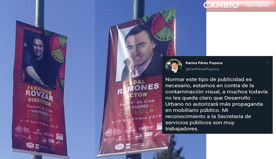 ¡Alcaldesa incongruente! Prohibió publicidad en mobiliario público, y ahora colocan propaganda de su ayuntamiento