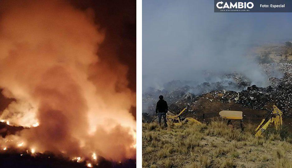 Controlan casi 20 horas después, incendio en relleno sanitario de Cuyoaco