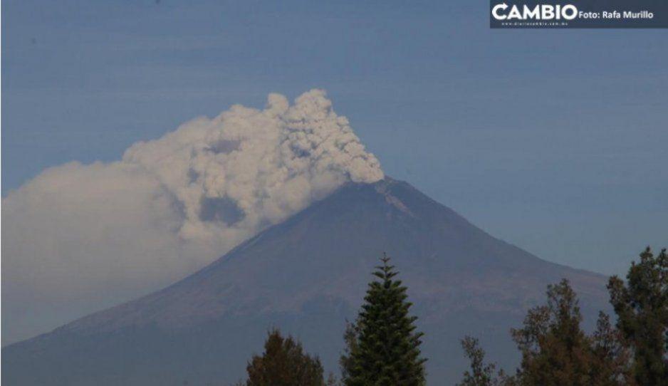 Emite Popocatépetl 224 exhalaciones en las últimas 24 horas