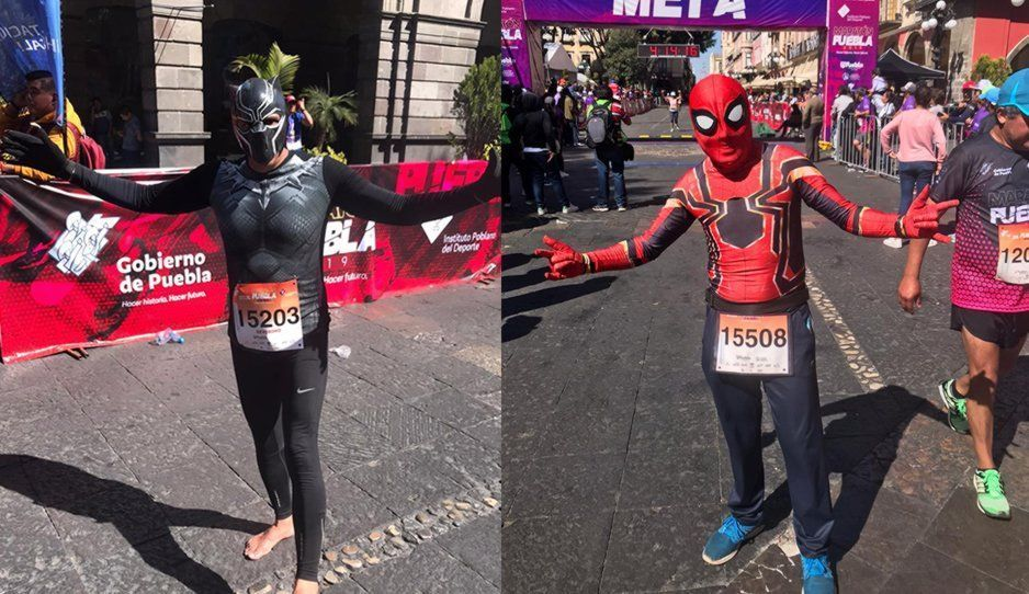 Spiderman, Black Panther y el Chapulín Colorado conquistan en el Maratón Puebla