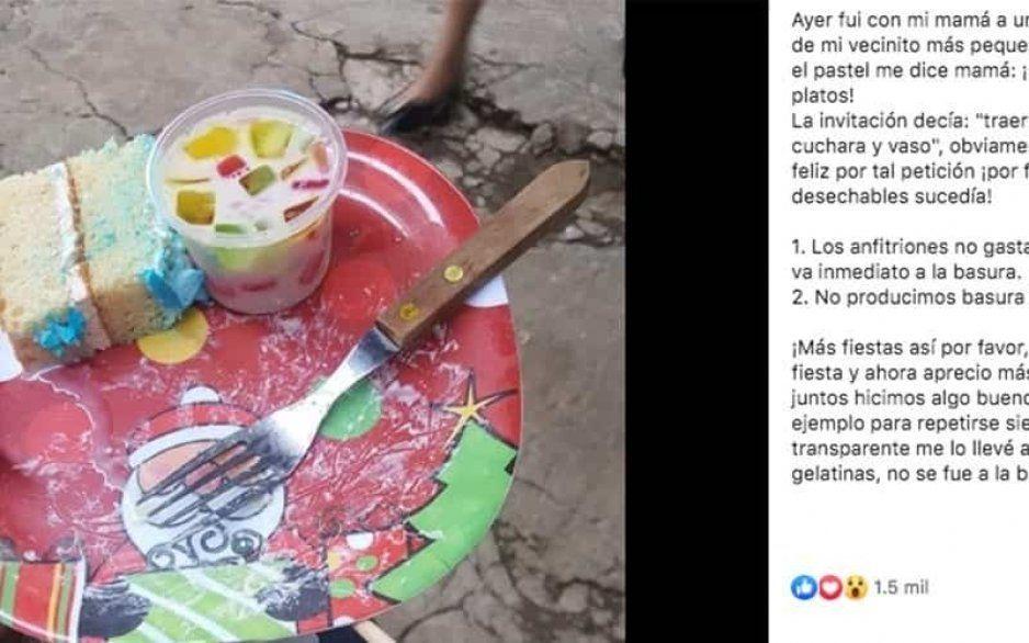 Niño ecológico se vuelve viral tras pedir a sus invitados que lleven su propio plato, vaso y cuchara