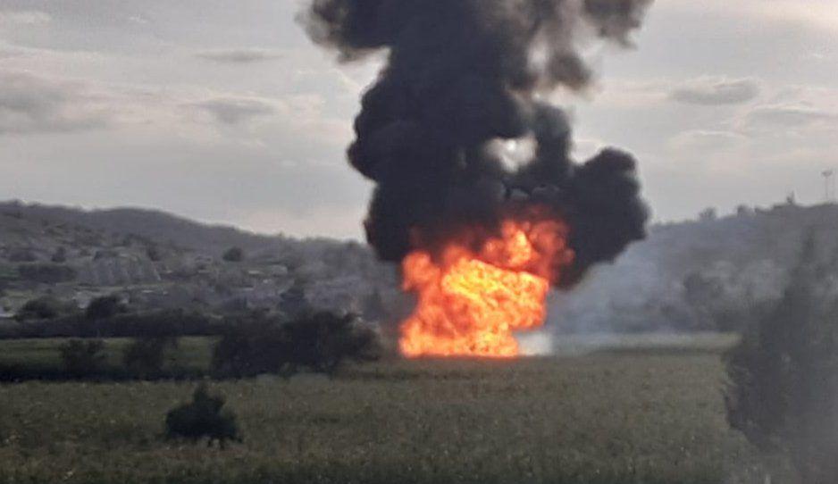 Provocan incendio en fuga de gas en Acajete (VIDEO)