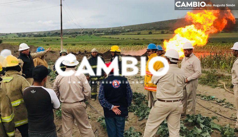 Después de 50 horas sofocan incendio en toma clandestina de gas en Palmar de Bravo