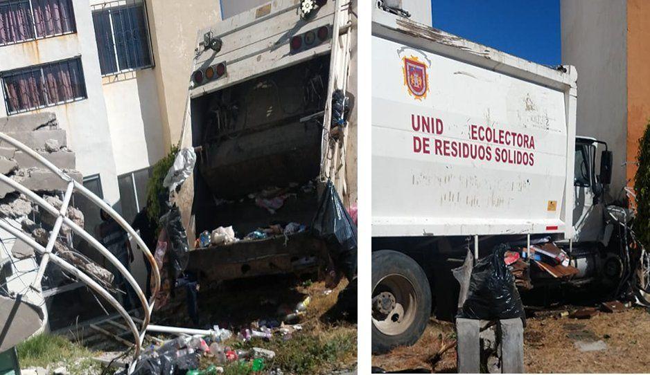 Camión recolector de basura de Huejotzingo choca contra departamentos