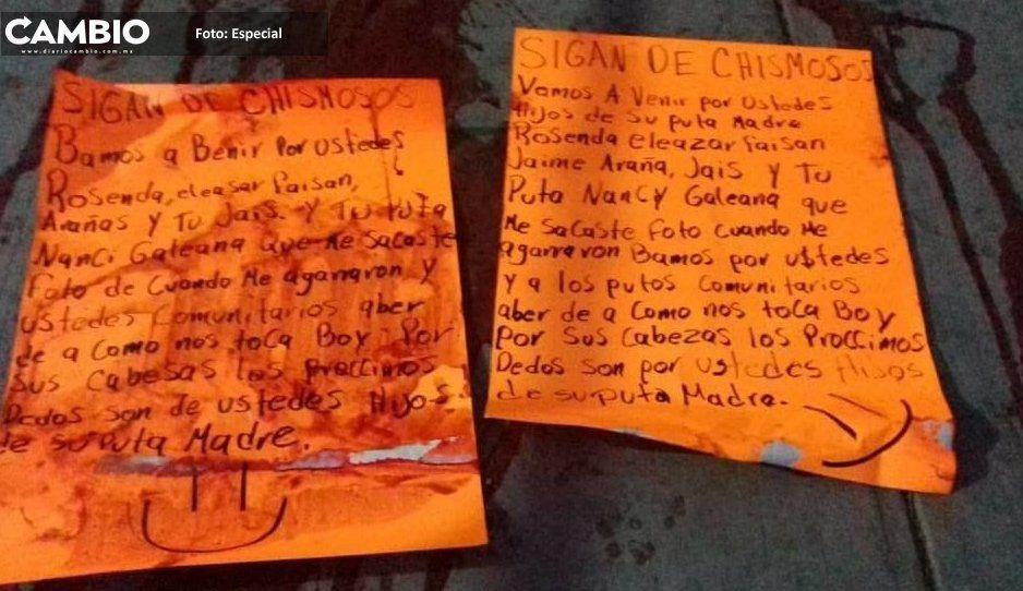 Amenazan con narcomensajes a autodefensas en Yehualtepec