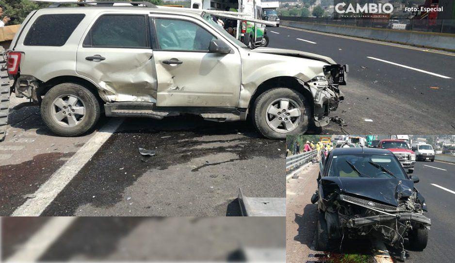 Cuatro lesionadas tras accidente en la México-Puebla