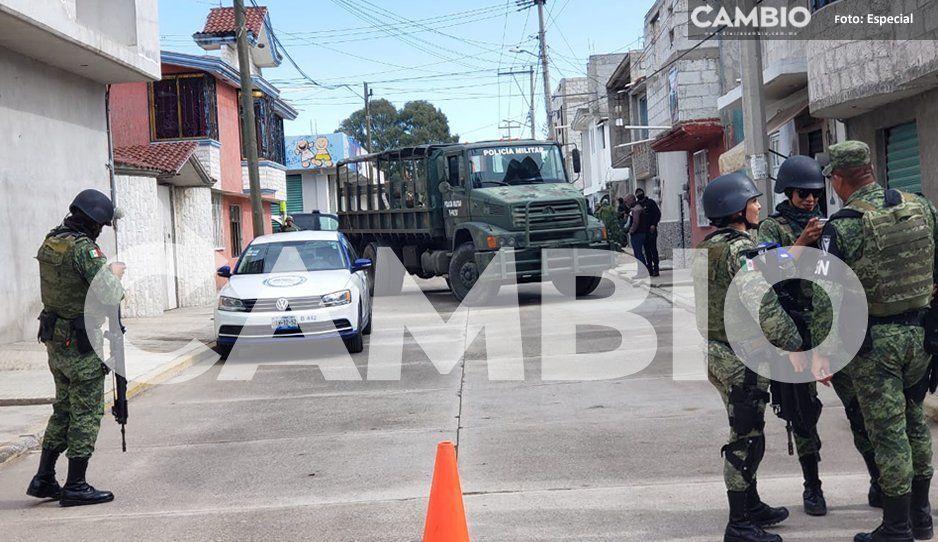 Fuerzas policiales realizan cateo en Texmelucan aseguran tres unidades ligas al robo de gas