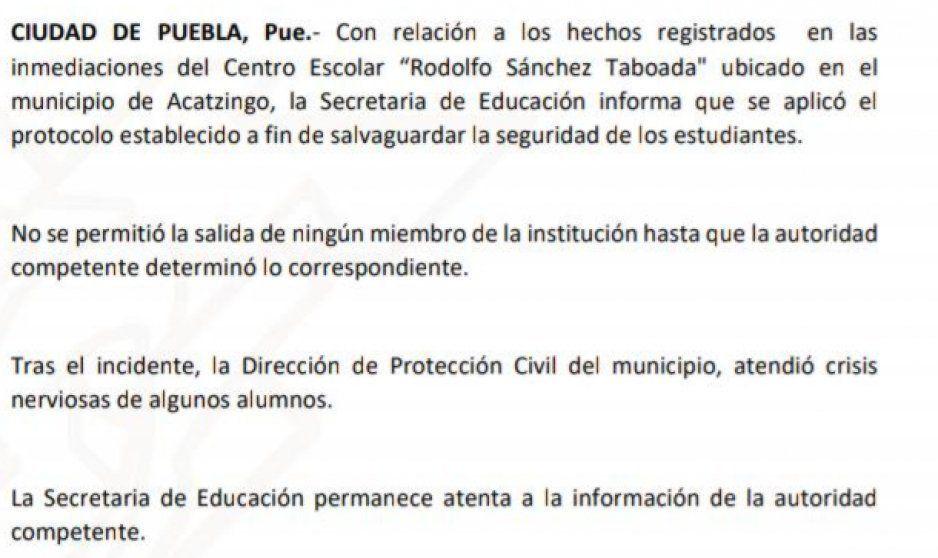 Sep informa que aplicaron protocolos durante balacera en Acatzingo