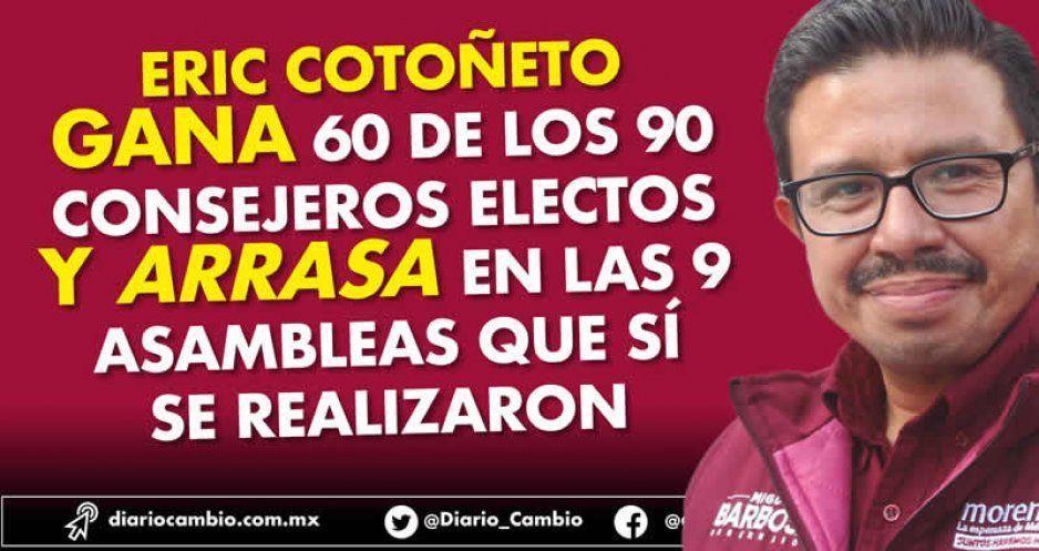 Eric Cotoñeto gana 60 de los 90 consejeros electos y arrasa en las 9 asambleas que sí se realizaron