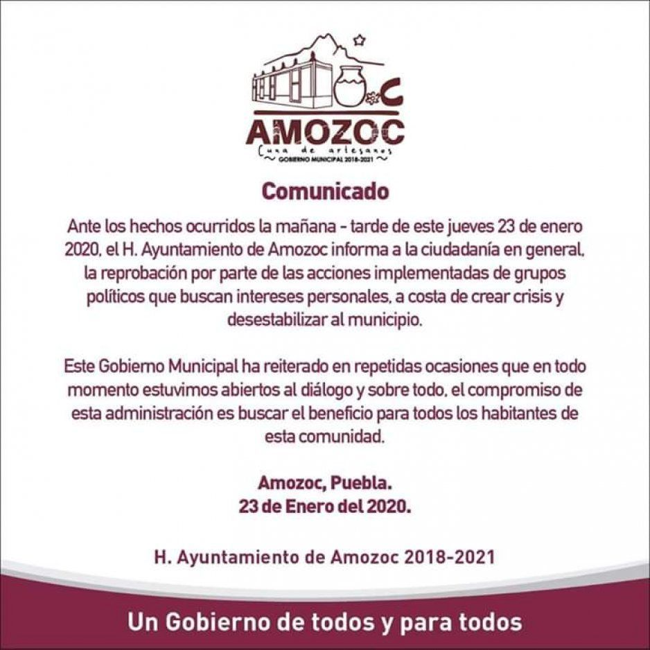 Reprueba Ayuntamiento de Amozoc hechos violentos