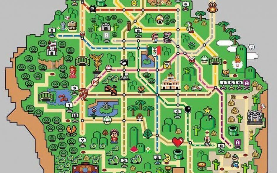 Crean mapita del Metro inspirado en Super Mario World