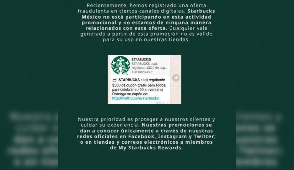 Starbucks pide a sus clientes ser precavidos, pues circulan promociones fraudulentas en redes sociales