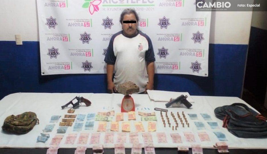 Detienen a narcomenudista y traficante de armas en Xicotepec