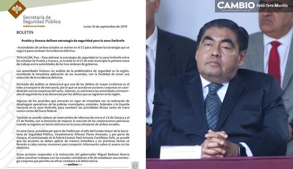 Gobierno de Puebla y Oaxaca acuerdan acciones para mejorar la seguridad en zona limítrofe