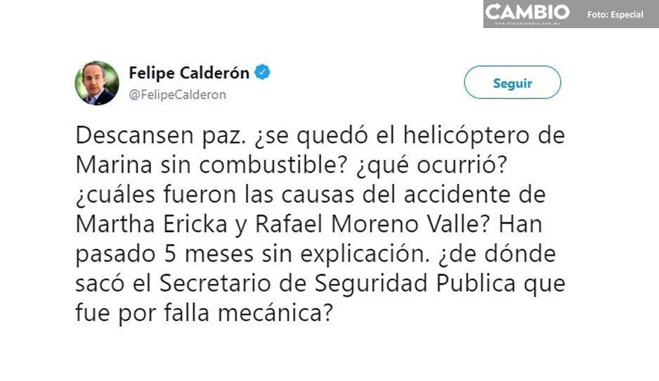 Calderón reprocha a AMLO explicación del helicopterazo; Cárdenas nunca se acordó