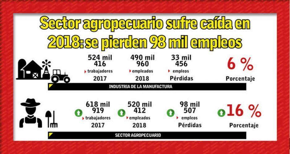 Sector agropecuario sufre caída en 2018: se pierden 98 mil empleos