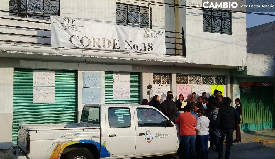 Trabajadores de Corde 18  protestan en Texmelucan
