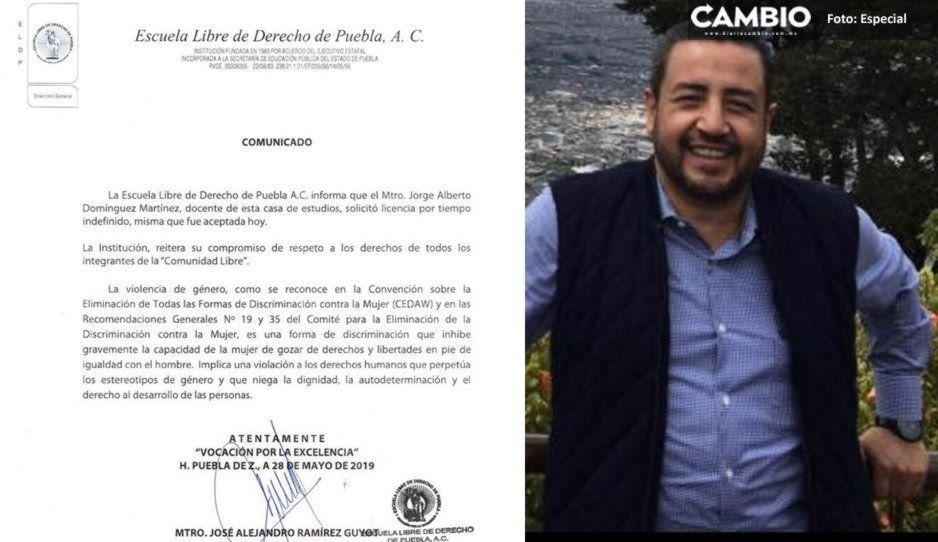 Destituyen a maestro acosador de la Libre de Derecho, Jorge Alberto Domínguez