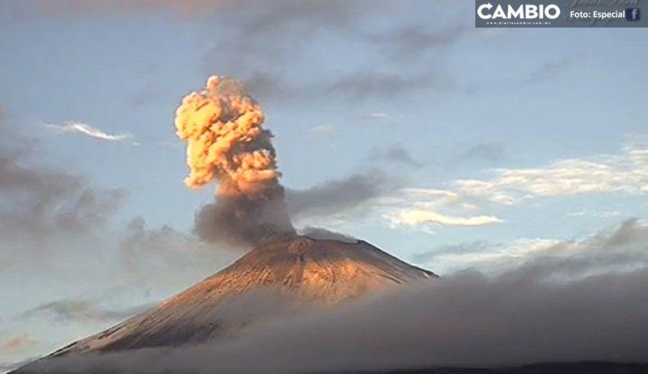 Popocatépetl emite exhalaciones con vapor de agua, gases y ceniza