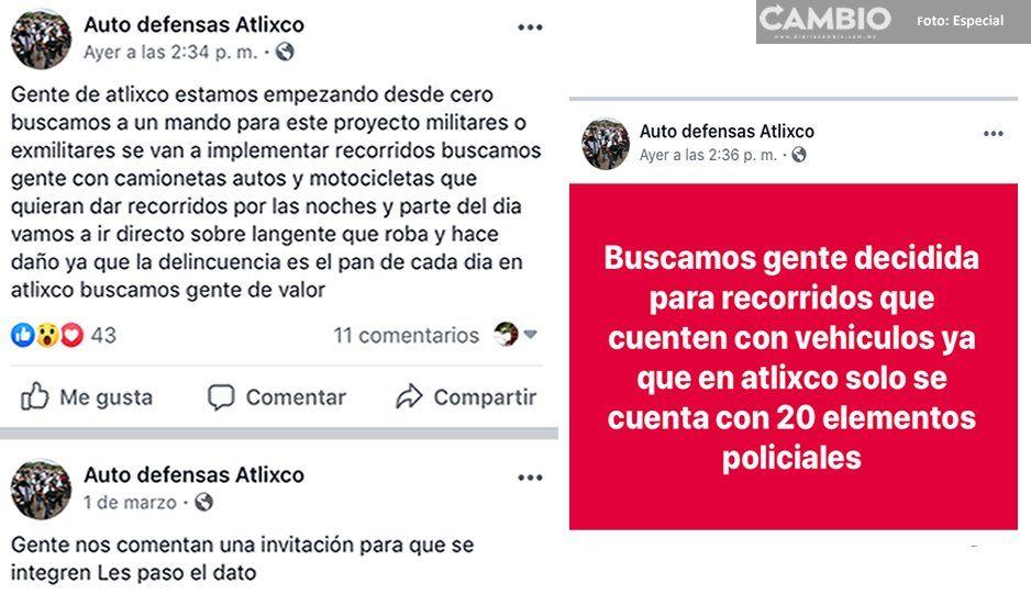 Resurgen reuniones de grupos de autodefensas en Atlixco