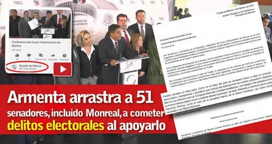 Armenta arrastra a 51 senadores, incluido Monreal, a cometer delitos electorales al apoyarlo (VIDEO)