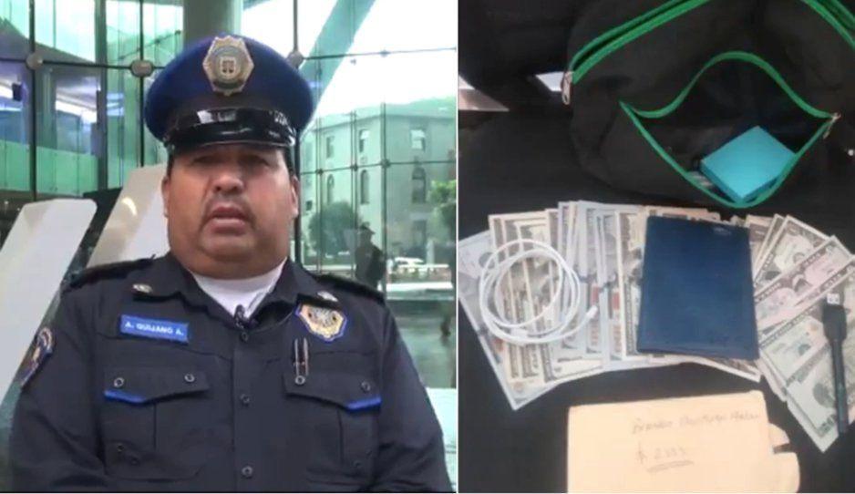 Policía honesto devuelve maletin con más de mil 600 dólares que se encontró afuera de un banco