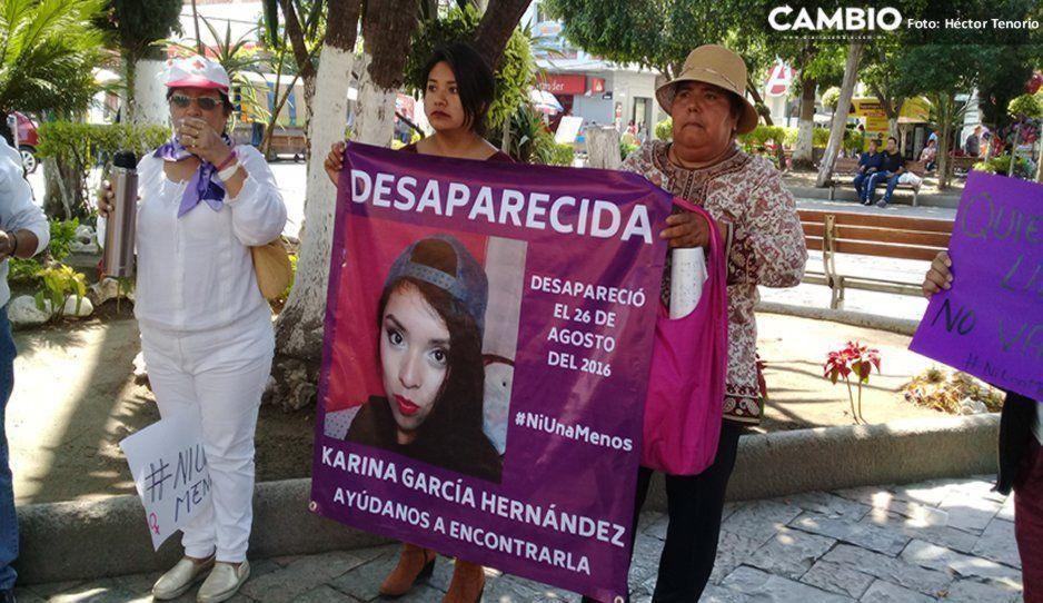 Mujeres de Texmelucan exigen en manifestación esclarecer la desaparición de Karina García