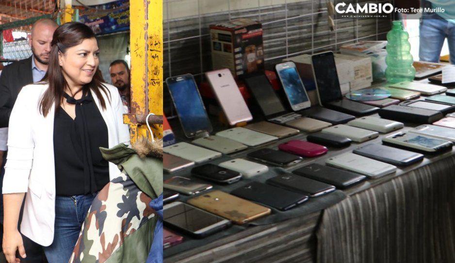 Venden celulares robados en la cara de Claudia Rivera (FOTOS)