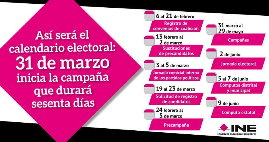 Así será el calendario electoral: 31 de marzo inicia la campaña que durará sesenta días