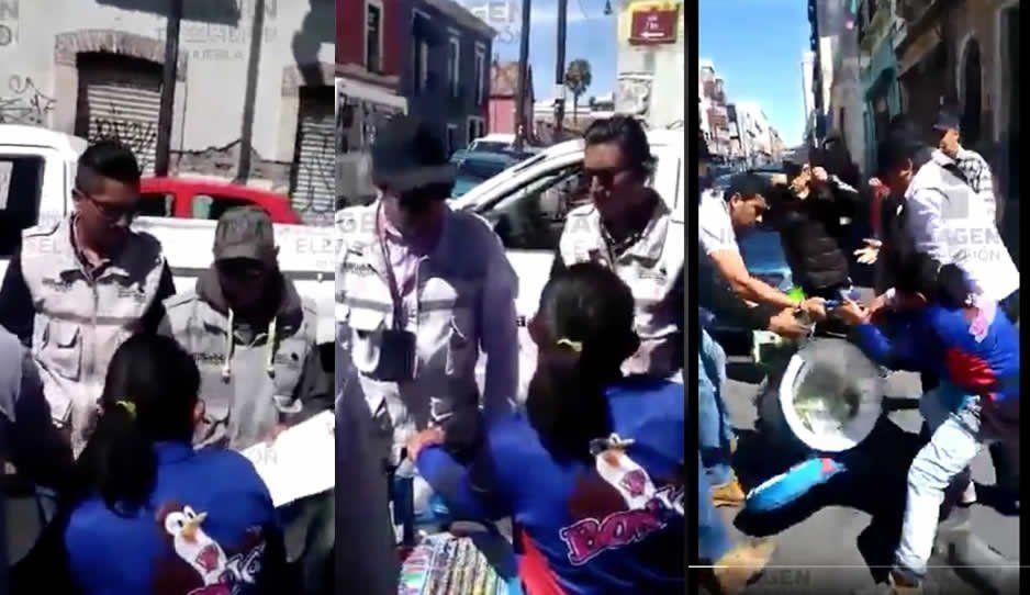 Trabajadores del Ayuntamiento agandallan a señora de los BonIce y se llevan su carrito (VIDEO)