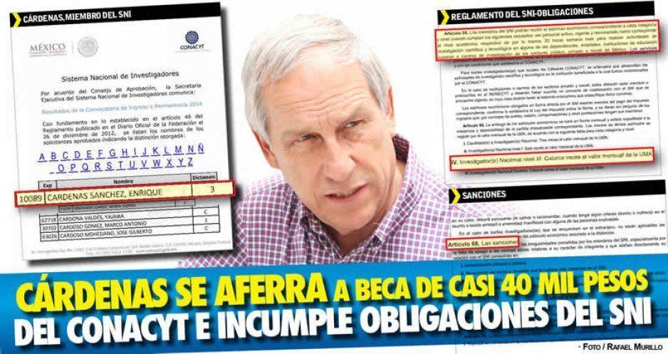 Engaña Cárdenas al Conacyt para cobrar beca de 40 mil pesos mensuales e incurriría en delito (VIDEO)