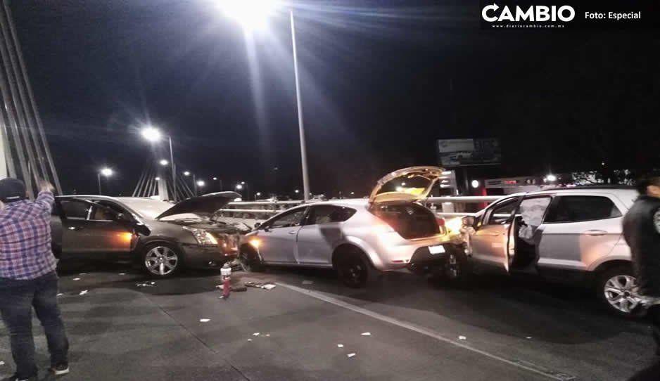 Borracho se mete en sentido contrario, y se impacta contra dos vehículos en Cholula