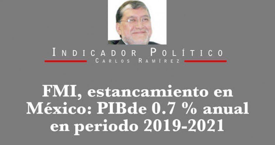 FMI, estancamiento en México: PIB de 0.7 % anual en periodo 2019-2021