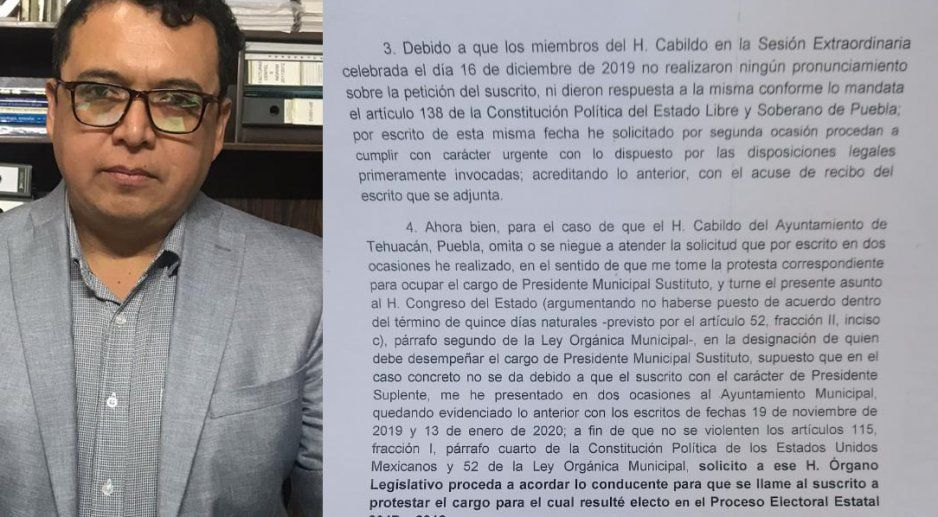 Pide Andrés Caballero al Congreso lo nombren como presidente municipal de Tehuacán
