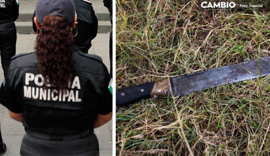Otra del pueblo bueno y sabio: vecinos de Coronango machetean a una policía que acudió a llamado por robo