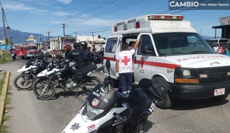 Policías de Texmelucan se accidentan, uno queda lesionado