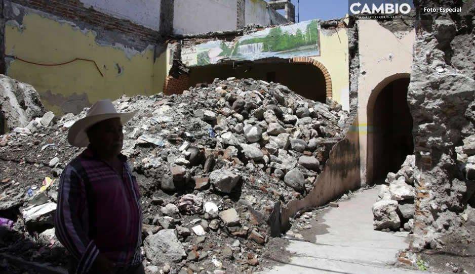 Multas y sin avances en casonas destruidas por el sismo del 19s en Atlixco