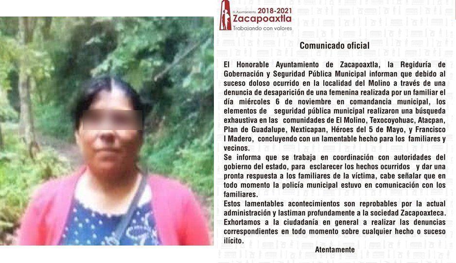 Feminicidio 77: Sale a trabajar y aparece muerta dos días después en camino a Zacapoaxtla
