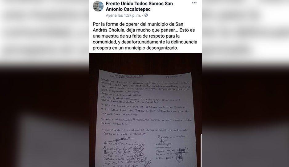 Autoridades municipales plantan a pobladores de Cacalotepec en reunión de seguridad
