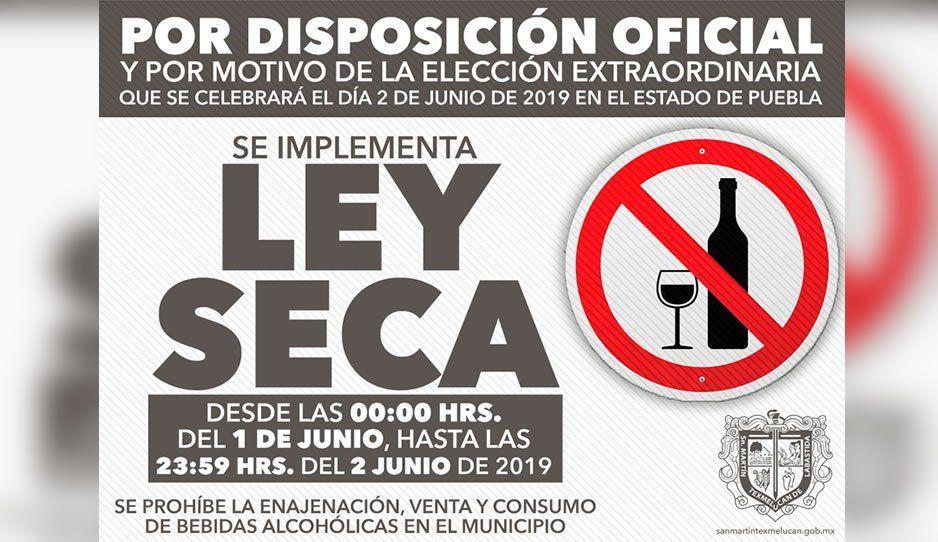 Habrá ley seca en Texmelucan sábado y domingo por elecciones