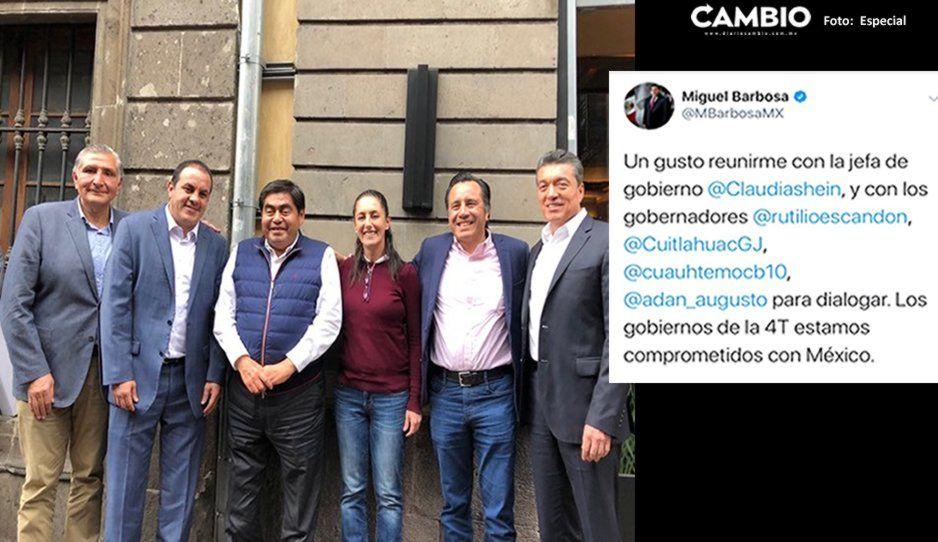 Se reúne Barbosa con gobernadores de Morena y Claudia Sheinbaum